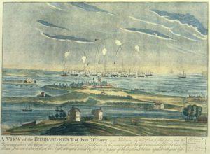 Bombardement de Fort McHenry, 13 septembre 1814, origine de l'hymne américain.