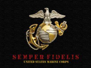 La devise de l'USMC sous son logo, le pygargue reposant sur le monde avec une ancre marine en arrière plan
