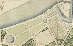Les quatre bassins, détail du plan du XVIIIe siècle retrouvé à Stockholm.